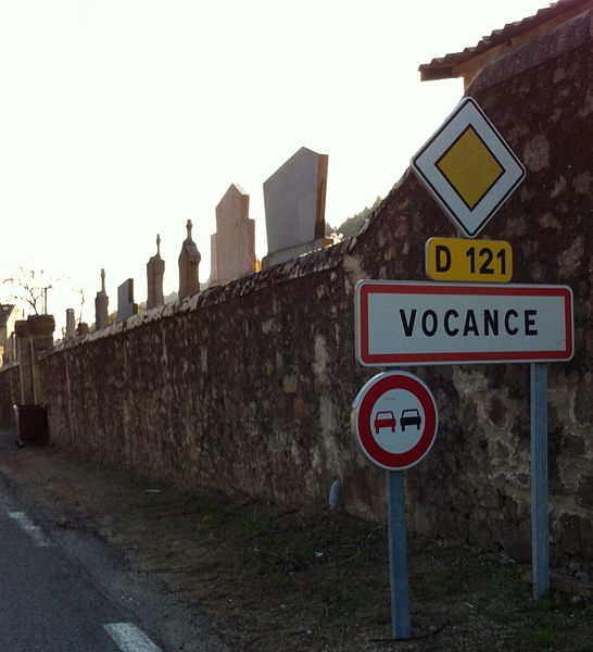 City limit sign of Vocance.