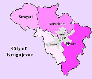 Pivara - Map of the city municipalities which constituted the city of Kragujevac