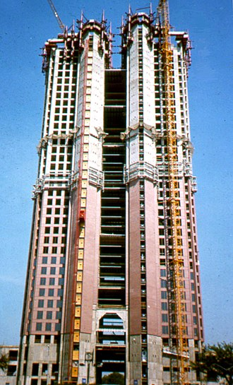 Tower at Cityplace - The Tower at Cityplace during construction in 1988.