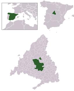 Localización de Madrid respecto a la Comunidad de Madrid, España y Europa.