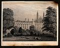 Clare College, Cambridge; view from the Backs. Line engravin Wellcome V0012319.jpg