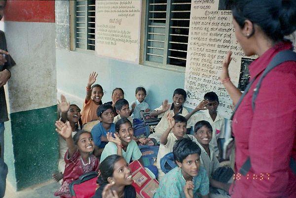 Klassrum i Indien.