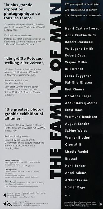 The Family of Man - Poster for the Exhibition The Family of Man in three languages