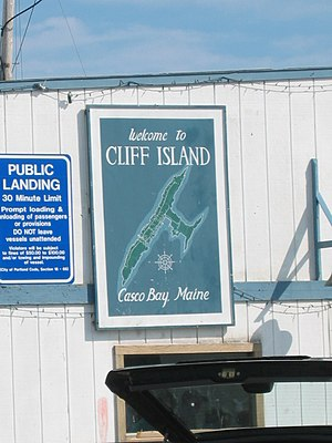 Cliff Island - A welcoming sign to visitors.