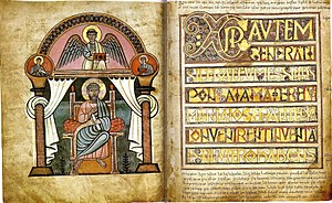 "Anglo-Saxon art - The evangelist portrait and Incipit to Matthew from the Stockholm Codex Aureus, one of the ""Tiberius group"", show the Northumbrian Insular and classicising continental styles that combined and competed in early Anglo-Saxon manuscripts."