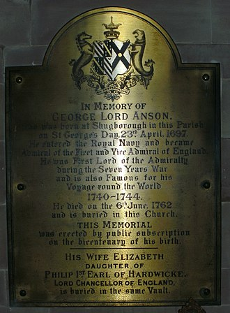George Anson, 1st Baron Anson - Anson's memorial at St Michael and All Angels' Church in Colwich, Staffordshire.