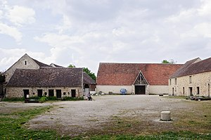 Tithe - Knights Templar tithe barn (la grange aux dîmes) with red roof, Coulommiers, Seine-et-Marne, France.