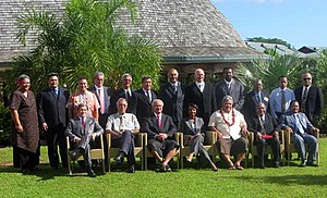 Tuilaepa Aiono Sailele Malielegaoi - Malielegaoi with Pacific Islands leaders and Condoleezza Rice in Apia, 26 July 2008
