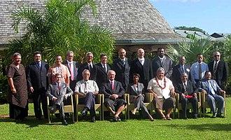 Tuilaepa Aiono Sailele Malielegaoi - Malielegaoi with Pacific Islands leaders and Condoleezza Rice in Apia, 26 July 2008