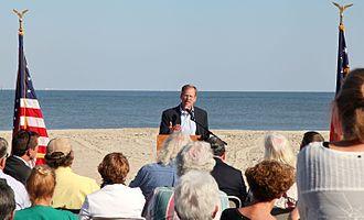 Jack Kingston - Congressman Kingston speaking at Tybee Island Beach Renourishment Sand Throwing Ceremony in 2014