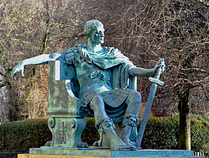 Late antiquity - Modern statue of Constantine I at York, where he was proclaimed Augustus in 306.