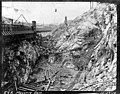 Construction area beside cofferdam discharge pipe structure, Masonry Dam, October 17, 1912 (SPWS 76).jpg