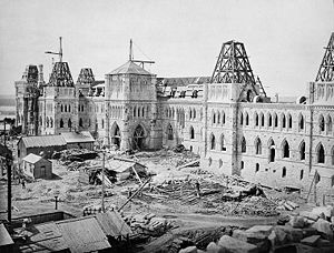 Parliament Hill - Centre Block under construction in 1863