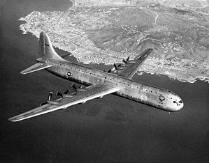 Convair XC-99 - The sole XC-99 off La Jolla in its early days of operation, before a nose radome was fitted