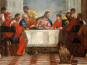 The Feast in the House of Levi - Saints Peter and John flank Christ, with Judas the uneasy figure in red