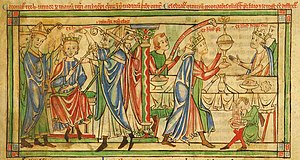 Henry the Young King - Crowning of Henry in 1170 by Roger, Archbishop of York. At the celebration banquet afterwards, the Prince is waited on by his father, King Henry II.