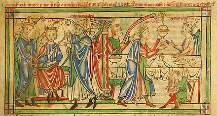 Coronation of Henry the Young King in 1170 Coronation of Henry the Young King - Becket Leaves (c.1220-1240), f. 3r - BL Loan MS 88.jpg