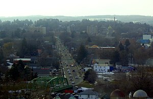 Cortland, New York - Overlooking downtown Cortland from I-81
