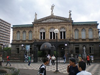 """Immigration to Costa Rica - The """"National Theatre"""" in San Jose, Costa Rica, was built by the Italian engineer Cristoforo Molinari in 1897. It has a striking resemblance to the Temple of the Opera, La Scala in Milan."""