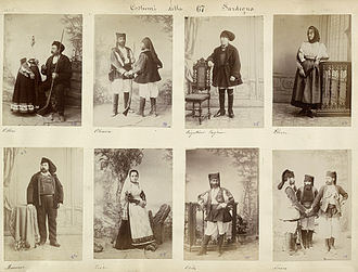 Sardinians wearing traditional ethnic garments, 1880s. Costumes of Sardinia 1880s 01.jpg