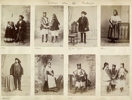 Sardinians wearing traditional clothing, 1880s. Costumes of Sardinia 1880s 01.jpg