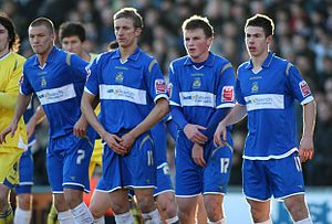 Stockport County F.C. - Stockport County players Anthony Pilkington, Carl Baker, Stephen Gleeson and Tommy Rowe in December 2008