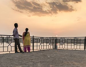 Saroornagar Lake - Couple admiring sunset Saroornagar lake