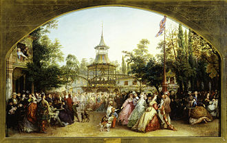 Phoebus Levin - The Dancing Platform at Cremorne Gardens, Phoebus Levin, 1864. Oil on canvas. 66 x 107 cm. Museum of London.