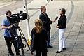 Cristina Husmark Pehrsson, svensk samarbetsminister talar med pressen i Malmo 2008-06-13.jpg