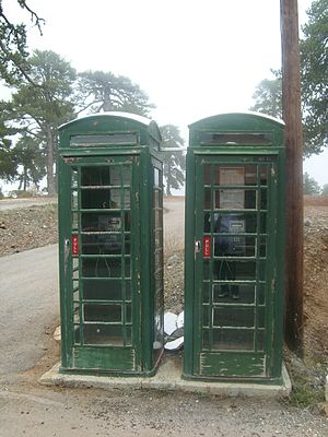 Telecommunications in Cyprus - Old telephone boxes in the Troodos Mountains.