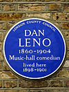 DAN LENO 1860-1904 Music-hall comedian lived here 1898-1901.jpg