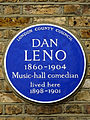 DAN LENO 1860-1904 Music-hall comedian lived here 1898-1901.jpg