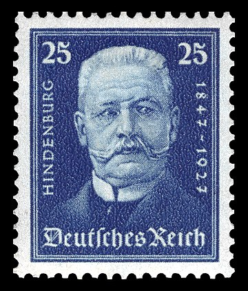 A Hindenburg stamp released in 1927 on the occasion of his 80th birthday DR 1927 405 Paul von Hindenburg Nothilfe.jpg