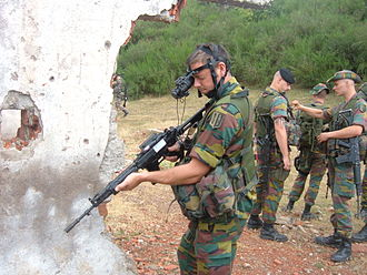 Belgian Land Component - Belgian soldiers with FN FNC assault rifles.