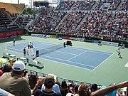 A tennis match during the Dubai Tennis Championships.
