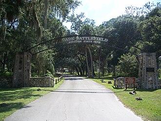 Dade Battlefield Historic State Park - Park entrance
