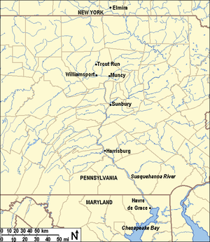 Daniel Hughes (underground railroad) - Map of Maryland, Pennsylvania, and New York showing important locations in Hughes' Underground Railroad work