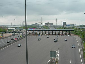 Dartford Crossing - Overhead view of the crossing looking northbound. The toll booths were replaced by electronic charging barriers in 2014.