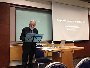 David Puttnam - Puttnam speaking on the regulation of new media at the Singapore Management University in March 2014
