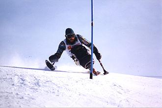 Para-alpine skiing - Australian Paralympic athlete Rod Hacon at the 1994 Winter Games in Lillehammer