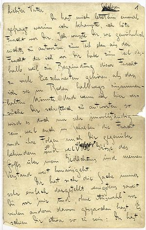 """Letter to His Father - first of the 103 pages of Kafka's handwritten """"letter"""""""