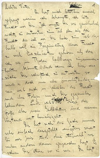 First page of Kafka's Letter to His Father De Kafka Brief an den Vater 001.jpg