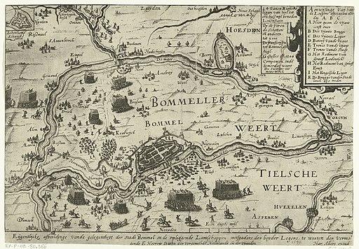 De strijd in de Bommelerwaard, 1599 Eijgentlijcke afbeeldinge vande gelegentheyt der Stadt Bommel en de omliggende Lantschappen mitsgaders der beyden Legers, te weeten der vermogende E. Heeren Staten der vereenichde Ned, RP-P-OB-80.386
