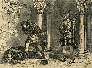 John III Comyn, Lord of Badenoch - The killing of Comyn in the Greyfriars church in Dumfries, as seen by Felix Philippoteaux, a 19th-century illustrator.