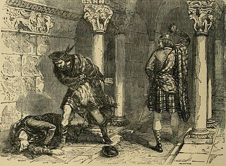 The killing of John Comyn in the Greyfriars church in Dumfries, as seen by Felix Philippoteaux, a 19th-century illustrator. Death of Comyn.jpg