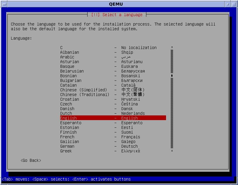 Debian 7 Installer Language Selection