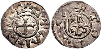 French denier - Denier of Charlemagne. AD 768–814. 21mm, 1.19 g, Toulouse mint.