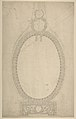 Design for a Girandole Mirror, an Oval Resting on an Oblong Base, Terminated by Two Superimposed Circular Frond-motifs, Topped with a Lion's Head from Which Hang Floral Swags and Pendants MET DP801005.jpg