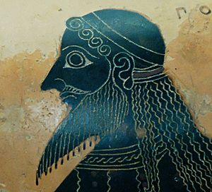 Panionium - Poseidon's head (identified by an inscription), detail from a scene representing Athena and Poseidon. Side B from an Attic black-figure neck-amphora, ca. 550–530 BC. From Vulci. Signed by the Amasis Painter.