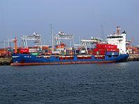 Dette G IMO 9122241 - Callsign DGOB, waiting for cargo in the Amazone harbour Port of Rotterdam 16-Jan-2005.jpg